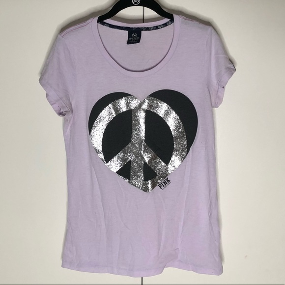 8e9633016ecbb PINK Victoria's Secret Lilac Glitter Peace T-shirt